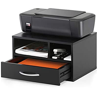 FITUEYES Wood Printer Stands with Drawer?Workspace Desk Organizers for Home & Office?Black?DO304002WB