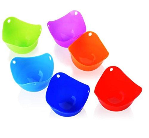 Tasses De Braconnage D'oeufs De Silicone-Set De 6 Tasses De Braconnage D'oeufs Avec Des Supports D'anneau Pour La Cuisson D'oeufs De Micro-Onde Ou De Cuisinière