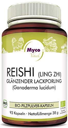 MycoVital Bio Reishi Pilzpulver-Kapseln 93 Stück je 400 mg aus deutschem Anbau - 100{190f71a4ae7694749ba9561c807ea173b3b1d09d7e3df2e51f22d795f1f84e7d} Vegan & Ohne Zusätze