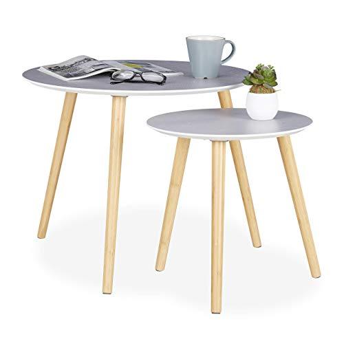 Relaxdays, grijs/natuur 2-delige set bijzettafels, houten poten, tafelblad rond, sattafel, decoratief patroon, diameter 40 en 60 cm, diameter 48 x 60 x 60 cm