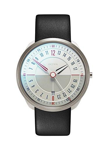 Botta de diseño de tres 24Titan Blanco Cuarzo Reloj de pulsera–24H reloj de pulsera, titanio, cristal de zafiro antirreflejos, correa de piel