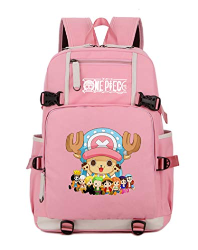 Cosstars One Piece Tony Tony Chopper Anime Bolsa para la Escuela Estudiante Backpack Escolar Mochila para Portátil Rosa-2