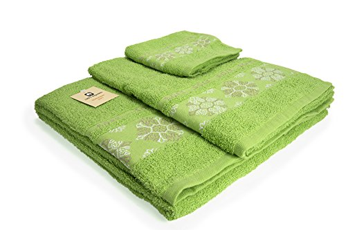 I LIKE Juego DE 3 Toallas 100% ALGODÓN - 1 Toalla de bidé (30x45 cm) 1 Toalla de Lavabo (50x90 cm) 1 Toalla de baño (100x140 cm) 380 gr Ref. Nieve Color Verde