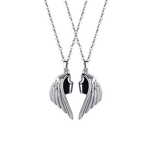 XTBL Anhänger Freundschaftsketten Teufel und Engel Paar Halskette Magnet zieht Liebhaber Halskette Leder Schlüsselbeinkette Anhänger Amulett Partner Anhänger Damen Schmuck