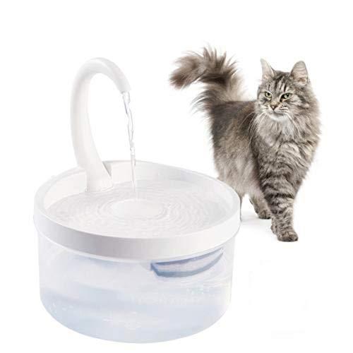 bozitian Fuente de agua para gatos con cuello de cisne, automática, silenciosa, para mascotas, transparente, dispensador de agua para perros, con bomba de filtro