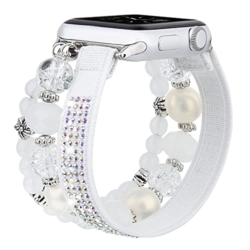 CAGOS Beaded Compatible with Apple Watch Band 38mm 40mm, Charm Bracelet Elastic Bands Scrunchie for iWatch Series SE/6/5/4/3/2/1 (Pure White, 38mm/40mm)