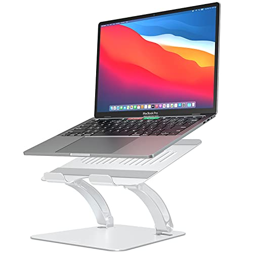 Adjustable Laptop Stand for Desk, Nulaxy Ergonomic Portable Laptop Stand with Heat-Vent to Elevate Laptop, Laptop Riser Supports Upto 11Lbs, Compatible with MacBook, Pro All Laptops 11-16'(Silver)