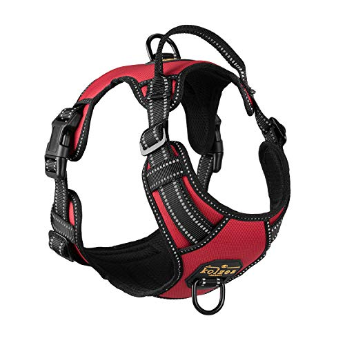 KOLZEA Reflective Dog Harness with Handle,Chest Plate Vest,Adjustable Quick Fit,Easy Walking Non Pulling Front Leash Attachment (L(Chest 20