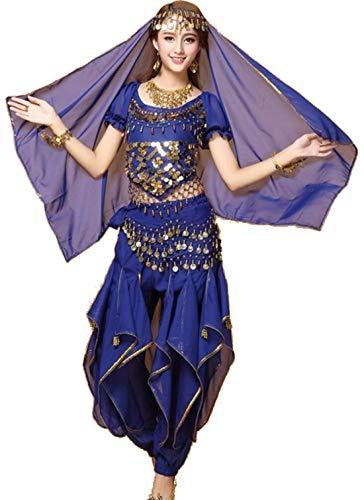 ZYLL Indian Bollywood Dame Bauchtanz Kleidung Frau Set Kleider Bellydance Kleid Anzug Rot Indian Bollywood TäNzer Tanzen KostüM Frauen,Blue