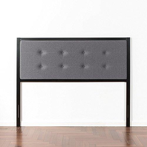 Zinus Barbara Button Tufted Grey Upholstered Metal Headboard, King