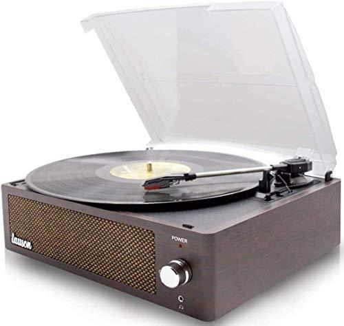 Lauson XN791 Plattenspieler Bluetooth Vintage mit PC Link Codierung, Plattenspieler für Schallplatten mit eingebauten Lautsprechern, Auto-Stop und dunklem Holz-Finish (33/45/78 RPM)
