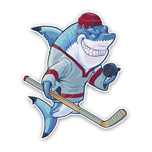 ytrewq Mode Niedliche Eishockey Cartoon Hai Cartoon Auto Aufkleber Personalisierte Farbe PVC wasserdichte Abziehbilder16cm * 13cm