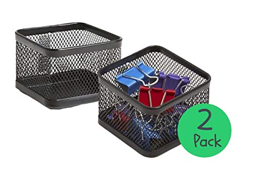 1InTheOffice Mesh Paperclip Holder for Desk Paperclip Holder Desk Accessories Holder2 Pack