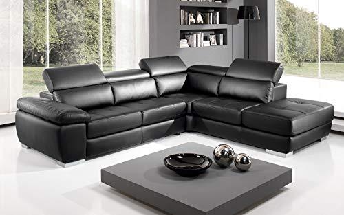 Dafne Italian Design Sofá cama esquinero de 3 plazas con chaise longue a la derecha. Piel sintética negra (285 x 245 x 97 cm)