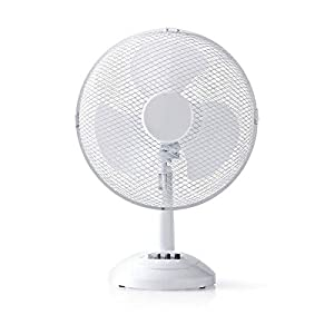 NEDIS - Ventilador de Mesa - Diámetro de 30 cm - 3 Velocidades - Función de Oscilación - Blanco