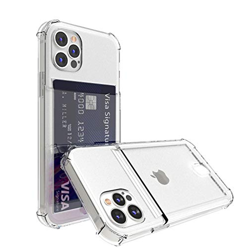 ANHONG Compatible with iPhone 12 Pro Max 6.7 inch, Clear Card Case, Slim Fit Thin Protective Soft TPU Shock-Absorbing Wallet Case with Card Holder
