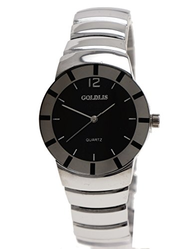 Super Flache Herren Klassik Uhr in Silber