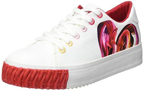 Desigual Damen Shoes_Street_Heart Sneakers Woman, White, 41 EU