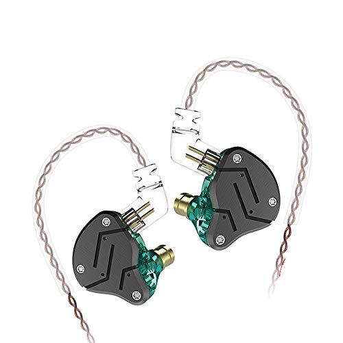 KZ ZSN in Ear Bass Buds Earphones Yinyoo Stereo Sound Hybrid Dynamic Driver Balanced Armature Earbuds Headphones Dual Driver 1DD 1BA Deep Bass Ergonomic Comfortable Earphones(Cyan no mic)