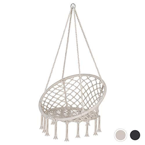 Sekey Hängesessel Hängestuhl, Hängesitz Baumwollseil Hängesessel zum Aufhängen mit Makramee für Erwachsene & Kinder , Sitzfläche Ø60 cm, bis 150 kg Belastbar, Beige