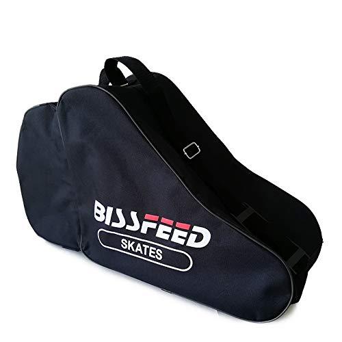 (Baoxinjp) インラインスケート バッグ 黒 ローラースケート 耐久性 ヘルメット入れ 磨耗しにくい 靴入れ 防具収納 靴収納 携帯便利 肩掛け 手提げ オクスフォード 防水 インライン1足収納 ジュニア 子供 大人 ブラック