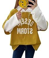 ZhongJue(ジュージェン)レディース パーカー 長袖 ゆったり トレーナー フードパーカー ドルマンスリーブ レイヤード風 着痩せ トップス 秋服 原宿系 ファッション おしゃれ 黄色 韓国風(10イエロー)