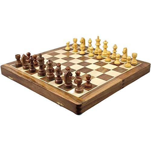 WYFX Juego de ajedrez Chessgammon para Adultos Hecho a Mano con Incrustaciones de Madera Maciza Juego de Mesa Plegable 14'Inteligencia de ajedrez, Juego de Intercambio para Fiestas