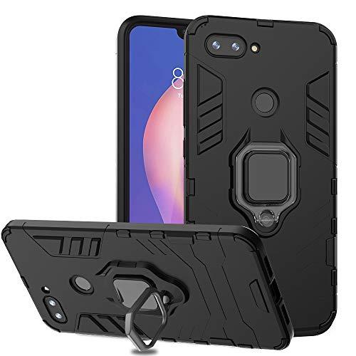 Ferilinso für Xiaomi Mi 8 Lite Hülle, Hybrid robuste Rüstung Dual Layer Heavy Duty Harte PC zurück Fall mit Ring Grip Kickstand und Unterstützung magnetische Auto-Mount-Funktion (Schwarz)