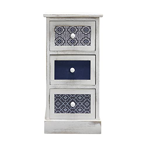 Rebecca Mobili Comodino salvaspazio, cassettiera 3 cassetti, legno, bianco grigio blu, design vintage, per arredo casa camera da letto salotto - Misure: 59,5 x 30 x 25 cm (HxLxP) - Art. RE6081