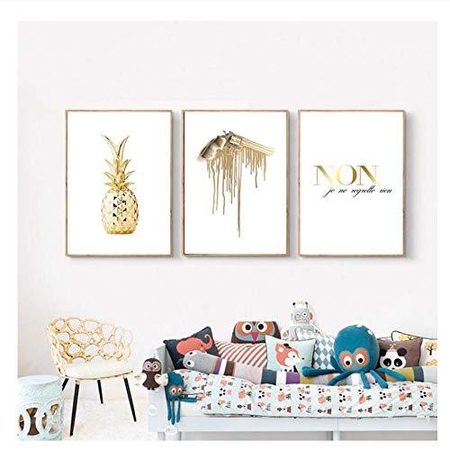 GUANGYE Nordische Plakatmalerei Abstrakte Ananasplakate und Drucke Wandkunst Leinwanddrucke Wohnzimmer Nordische Dekoration Home-40X60Cmx3 Pcs Kein Rahmen