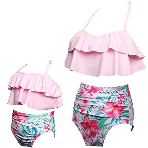 ChayChax Damski dziewczęcy zestaw bikini, z falbanką, moda kąpielowa, matka, córka, wysoka talia, dwuczęściowy strój plażowy, dla rodziców i dzieci, 3-różowy, 164