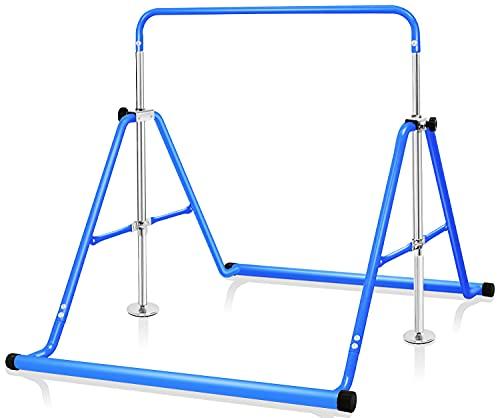 BangTong&Li 子供用 ぶら下がり鉄棒 折りたたみ 多機能 てつぼう 耐荷重(約)70kg 5段階高さ調節可 室内用 屋外使用可 逆上がり テツボウ (ブルー)