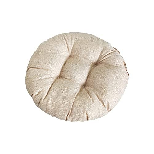 Rond Coussin de Siège, Coton Lin Tatami Coussin de Sol, Coussin de Chaise épais Moelleux pour Chaise de Bureau, Coussin de Chaise épaissi Confortable pour Cuisine, Chambre, Sofa, Voiture (40*40cm)