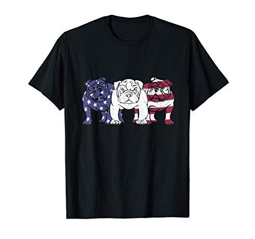 Unique English Bulldog Dog American Flag T-Shirts Gifts T-Shirt