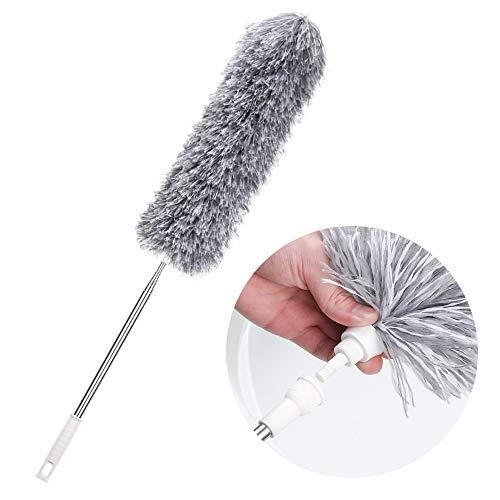 SS SHOVAN - plumero telescópico, con escoba de esquina plegable, mango extra de hasta 240 cm de longitud, cepillo para polvo para cocina y hogar (gris), 240 cm