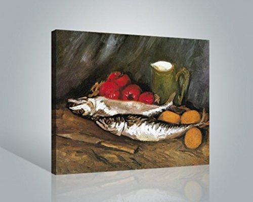 1art1 Vincent Van Gogh - Naturaleza Muerta con Caballas, Limones Y Tomates Detalle Cuadro, Lienzo Montado sobre Bastidor (50 x 40cm)