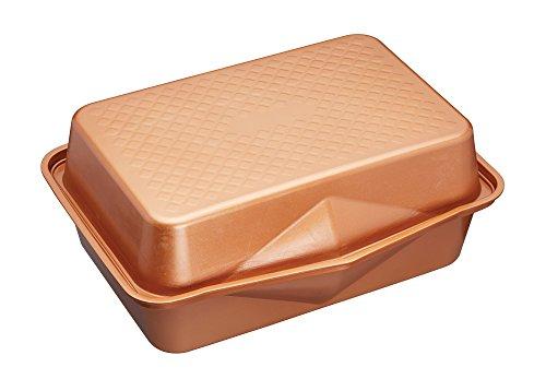 Kitchencraft Masterclass Smart en céramique Grande empilage Plat à rôtir Anti-adhésif avec Couvercle, 41.5x 31.5cm (41,9x 31,8cm), Finition Acier aluminisé, Cuivre, 1x 1x 1cm