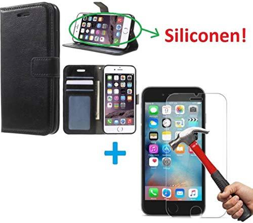 iPhone 5 5S Portemonnee hoes zwart met Tempered Glas Screen protector
