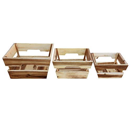Modern Village Wood Basket, Set of 3 Nested Wooden Baskets for Fruit, Bread and Storage