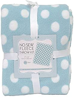 Dots On Blue No-Sew Throw Anti-Pill Fleece Fabric Kit (50x60)