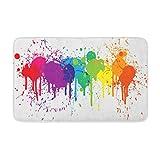 Adowyee 20'x30' Bath Mat Blue Drip Bright Rainbow of Dripping Paint Splatters Colorful Cozy Bathroom Decor Bath Rug with Non Slip Backing