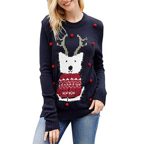 CHIYEEE Dames Kerst Herten Jumpers Xmas Festival Pullover Dames Lange Mouw Gebreide Sweater Blauw S-XL
