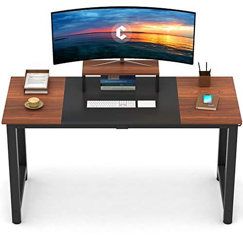 CubiCubi Escritorio para computadora de 55 pulgadas con tablero de empalme, mesa de estudio para oficina en casa, escritorio de PC de estilo simple moderno, marco de metal negro, Espresso