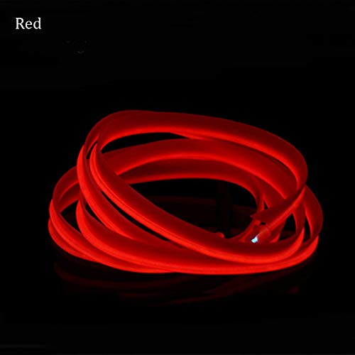 Auto Auto interieur Decor LED Neon Light Lamp Glow EL draad Lamp String Strip 12 V met 6 mm naaien Edge 26.2 FT/8M Rood