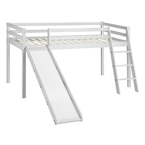 Home Detail Children's Cabin Bed Frame with Slide & Ladder White Natural Whitewash Finish Bunk Bed for Kids with Optional Tent, Tunnel, Tower & Pocket in Choice of Four Styles