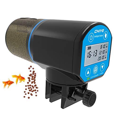 DZL- Alimentador Automático Peces Comedero Automático Peces Temporizador Acuario para Tortuga Pescado Dispensador 200ml (USB)
