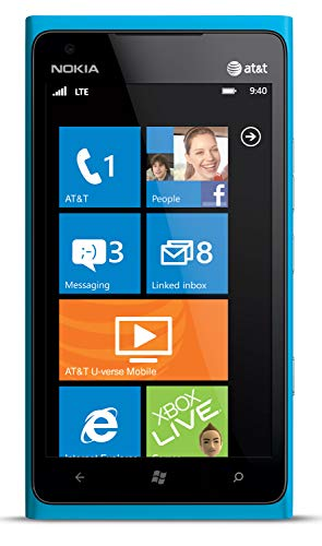 Nokia Lumia 900 AT&T GSM Unlocked 4G LTE Windows 7.5 Smartphone - Cyan Blue