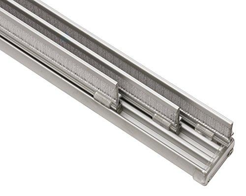 Gardinia Komfort Flächenvorhangschienen Komplett-Set, 3-läufige Schiene, 170 cm, Aluminium, 31173