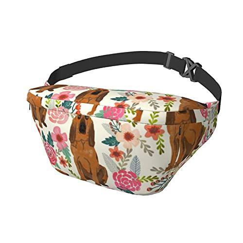 Bloodhound - Mochila bandolera para perros y flores, color crema