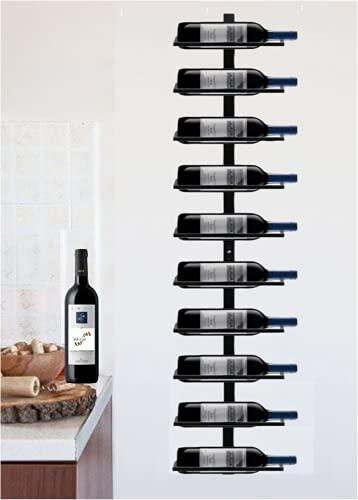 Portabottiglie Vino da Parete Scaffale in Metallo Vino Porta 10 Bottiglie di Altezza 126 cm Nero